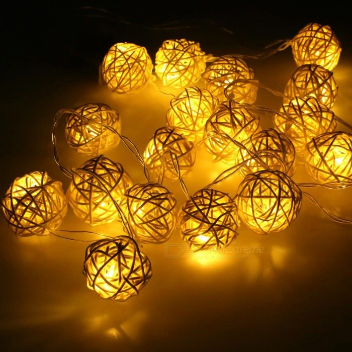 P-TOP 2m 20-LED Battery Powered Warm White Light Handmade Rattan Balls String Light - White