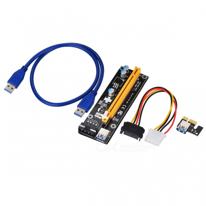 CHIPAL 60CM PCI Express PCI-E 1X to 16X Riser Card Extender PCIE Adapter + USB 3.0 Cable + 15Pin SATA to 4Pin IDE Power CordComputer Cable&amp;Adapter<br>Form  ColorBlackModelJX455-0.6MQuantity1 DX.PCM.Model.AttributeModel.UnitShade Of ColorBlackMaterial-InterfaceOthers,-Packing List1 x PCI-E 16X Card1 x PCI-E 1X Card1 x USB 3.0 Cable1 x Power Cable<br>