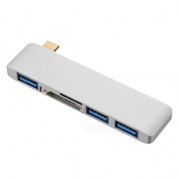 BSTUO-USB31-Type-C-to-3-Port-USB-30-Hub-with-SDTF-Card-Reader-Function-Silver