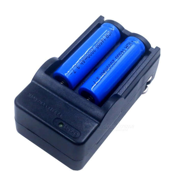 ZHAOYAO 6 x 3.7V 2000mAh 14500 Li-ion Batteries with US Plug Power Adapter Charger