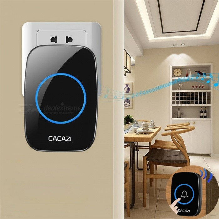 CACAZI Portable Wireless Doorbell with 1 Button 2 Receivers (EU Plug)