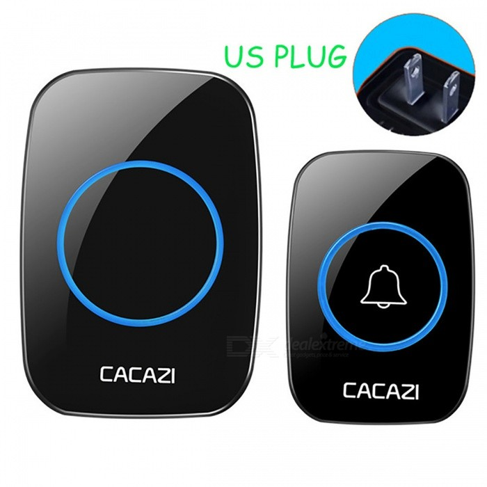 CACAZI Portable Wireless Doorbell with 1 Button 1 Receiver (US Plug)