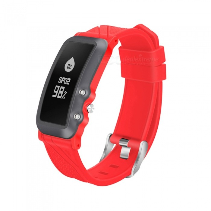 DB08 IP68 Waterproof Smart Bracelet with Fitness Tracker, Blood Pressure Heart Rate Monitor - Red