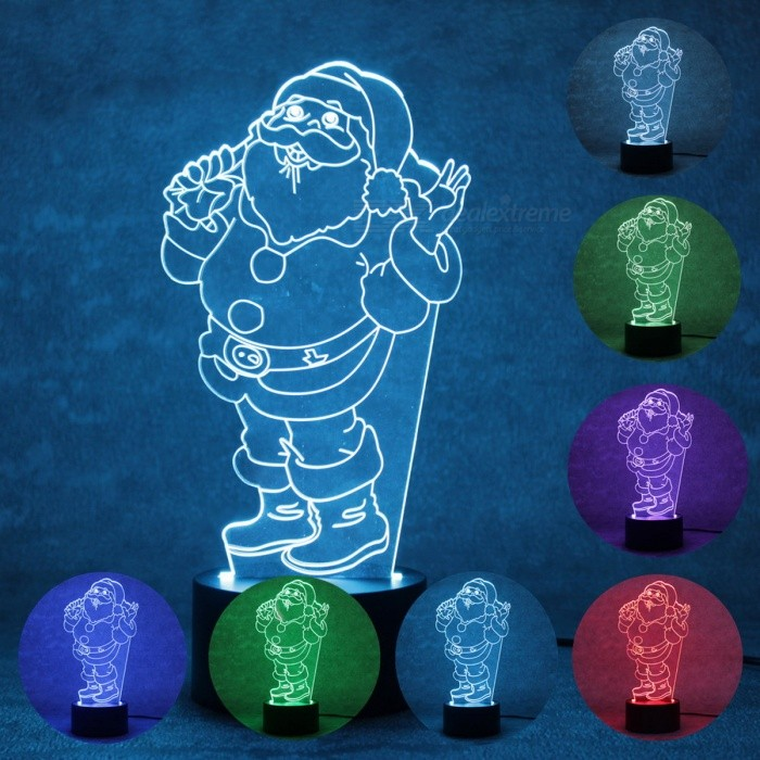 3D Christmas Santa Claus Parttern 7-Color Charging LED Night Light Lamp for Kids GiftLED Nightlights<br>Form  ColorBlack + TransparentModelBRM-2727MaterialPlasticQuantity1 DX.PCM.Model.AttributeModel.UnitPowerOthers,1.5WRated VoltageAC 100-240 DX.PCM.Model.AttributeModel.UnitColor BINMulti-colorChip BrandOthers,ling tongChip Typeling tongEmitter TypeLEDTotal Emitters8DimmableYesBeam Angle90 DX.PCM.Model.AttributeModel.UnitInstallation TypeInsertedPacking List1 x Parttern board1 x Light base1 x USB cable1 x User manual<br>