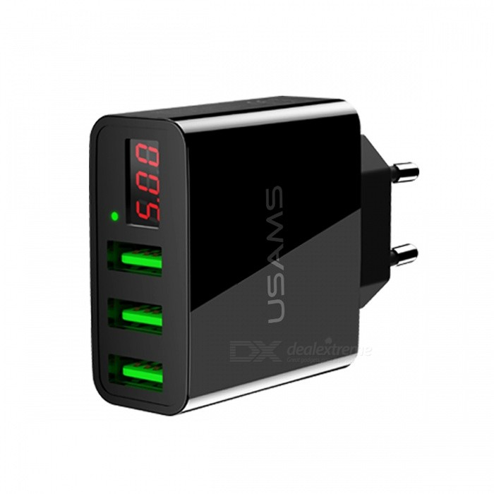 USAMS US-CC035 Universal Three USB LED Display Travel Charger - Black (EU Plug)