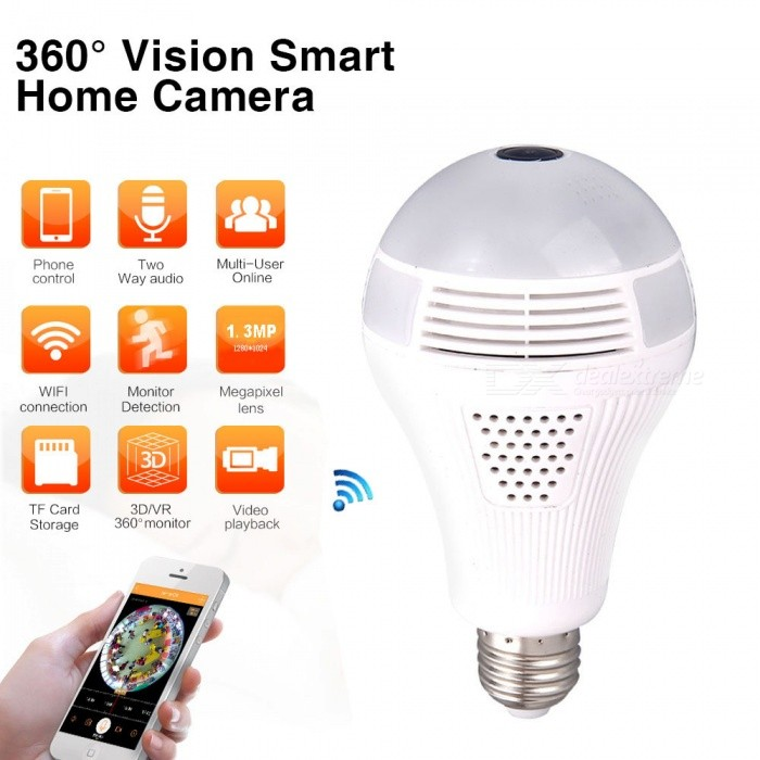 Jiawen Wireless Wi-Fi Bulb Light with 1.3MP Camera for Home Security (AC 100-240V)Smart Lighting<br>Color BINCold WhiteMaterialN/AForm  ColorWhiteQuantity1 DX.PCM.Model.AttributeModel.UnitPower6WRated VoltageAC 100-240 DX.PCM.Model.AttributeModel.UnitConnector TypeE27Emitter Type5050 SMD LEDTotal Emitters3Theoretical Lumens480 DX.PCM.Model.AttributeModel.UnitActual Lumens480 DX.PCM.Model.AttributeModel.UnitColor Temperature12000K,Others,6000-6500KDimmableNoPacking List1 x Bulb1 x E27 base1 X Instructions book<br>