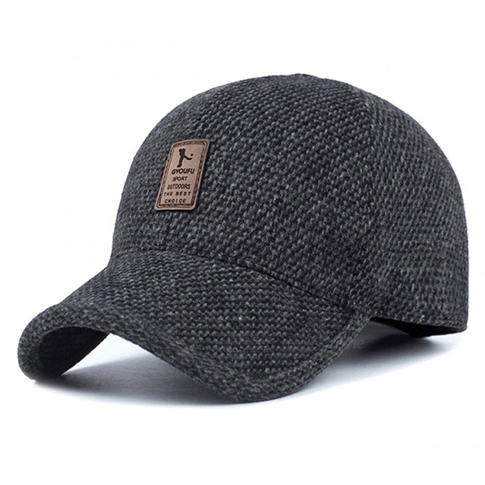 Men's Spring Winter Warm Thickened Baseball Cap Cotton Hat with Earflap - Dark Grey