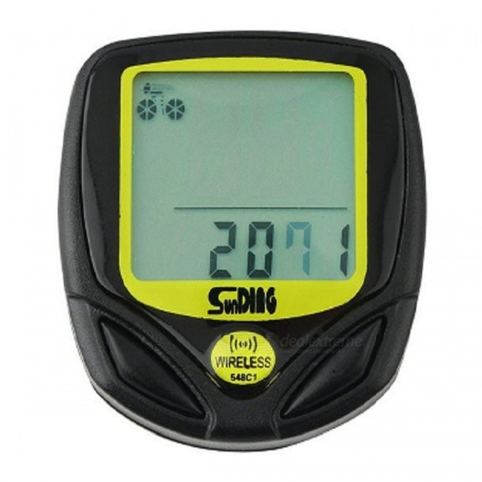 Mini Waterproof Wireless LCD Waterproof Bike Computer Speedometer - Black