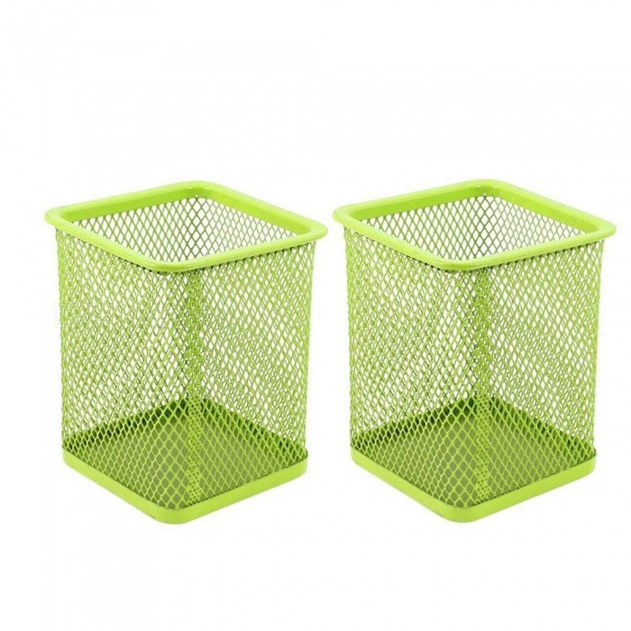 Metal Square Mesh Design Pen Holder Case for Home Office  (2 PCS)