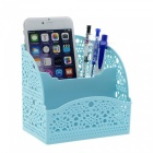 Plastic Hollow Pattern Office Desktop Opslag Organizer, Cosmetische Telefoon Pen Potlood Houder - Blauw (2 PCS)
