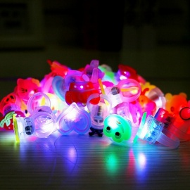 Cartoon LED Flashing Light Up Glowing Finger Ring, Electronic Christmas Baby Fun Toy Gift for Children (10 PCS)