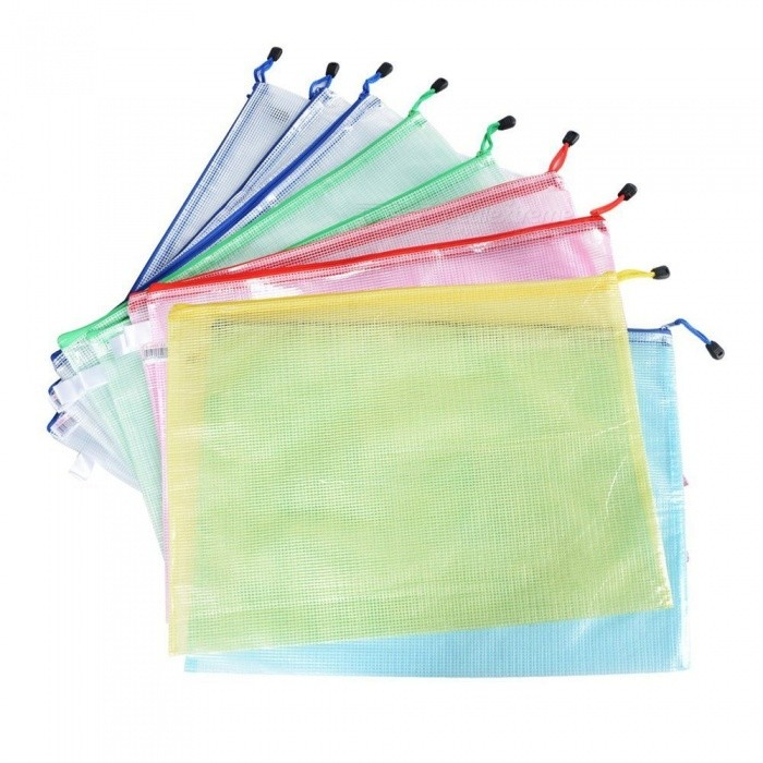 Multicolor-Netting-Surface-A3-Document-File-Holder-Zipper-Bag-(12-PCS)