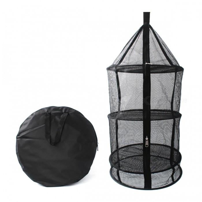 Outdoor Folding Four Layers Drying Storage Net Mesh Bag with Zipper - Black