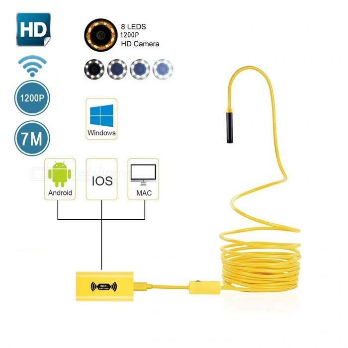 BLCR IP68 Wi-Fi 2.0MP 1200P HD Borescope Inspection Snake Camera with 8 Adjustable Led Lights (7M)Microscopes &amp; Endoscope<br>Snake Cable Length7m SoftwireModel110BQuantity1 DX.PCM.Model.AttributeModel.UnitForm  ColorYellowMaterialPlasticCamera Pixels2.0MPCompatible OSIOS / Android / Windows / MacCamera head outer diameter8mmLED Bulb Qty8InterfaceMicro USBPacking List1 x Wireless Endoscope1 x WiFi Box1 x USB charging cable 1 x USB tieline 1 x Accessories box (Mirror, Hook, Magnet and Waterproof Device) 1 x English Instruction<br>