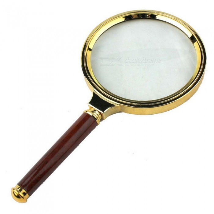 6X 80mm Handheld Magnifier, Magnifying Glass Loupe with Metal Frame for ReadingMagnifiers<br>Form  ColorGoldenQuantity1 DX.PCM.Model.AttributeModel.UnitMaterialWood + metalMagnificationOthers,6XLens Size80mmPacking List1 x Magnifier<br>