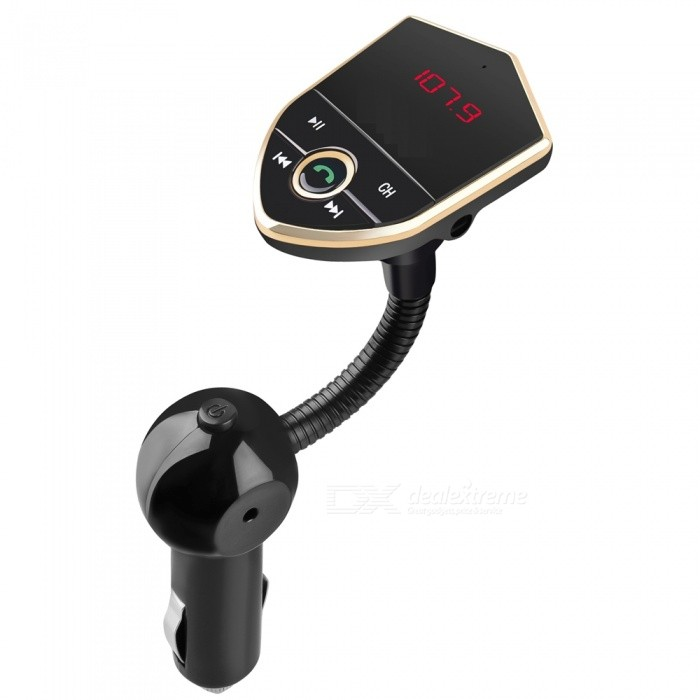 602E Car Bluetooth Kit Hands-Free FM Transmitter, Dual USB Charger, MP3 Music Player - Black + GoldenBluetooth Car Kits<br>Form  ColorBlack + Golden + Multi-ColoredModel602EQuantity1 DX.PCM.Model.AttributeModel.UnitMaterialABSFunctionOthers,Handsfree, MP3 Player, FM Transmitter, Power Off Memory function, A2DPCompatible CellphoneOthers,IPHONE, Motorola, Blackberry, LG, Sumsang, Nokia, SonyEricsson, HTCVoice Prompt LanguageOtherBluetooth VersionBluetooth V3.0Transmit Distance10 DX.PCM.Model.AttributeModel.UnitMIC Effective Distance2 DX.PCM.Model.AttributeModel.UnitFM Frequency Range87.5-108.0MHzFM Transmit Distance2 DX.PCM.Model.AttributeModel.UnitFrequency Response20Hz-15KhzSNR&gt;60dBTHDCharging Voltage12-24 DX.PCM.Model.AttributeModel.UnitInterface/PortOthers,USB 2.0, TF card slotPacking List1 x Car Handsfree FM Transmitter Kit1 x User Manual<br>