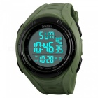 SKMEI 1313 Men's 50M Waterproof Digital Dual Time Sports Watch with EL Light - Army Green