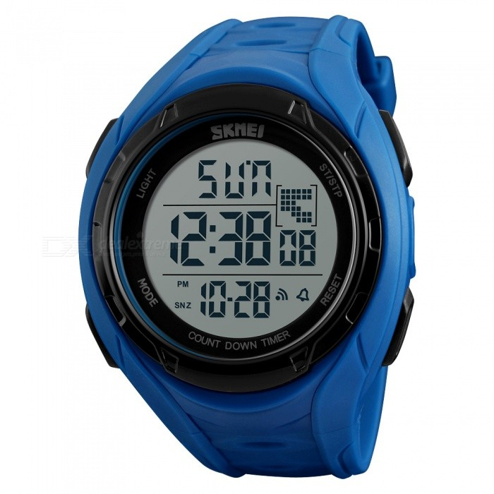 SKMEI 1313 Mens 50M Waterproof Digital Dual Time Sports Watch with EL Light - BlackSport Watches<br>Form  ColorBlueModel1313Quantity1 DX.PCM.Model.AttributeModel.UnitShade Of ColorBlueCasing MaterialABSWristband MaterialPUSuitable forAdultsGenderMenStyleWrist WatchTypeSports watchesDisplayDigitalBacklightGreen lightMovementDigitalDisplay Format12/24 hour time formatWater ResistantWater Resistant 5 ATM or 50 m. Suitable for swimming, white water rafting, non-snorkeling water related work, and fishing.Dial Diameter4.7 DX.PCM.Model.AttributeModel.UnitDial Thickness1.5 DX.PCM.Model.AttributeModel.UnitWristband Length240 DX.PCM.Model.AttributeModel.UnitBand Width2.2 DX.PCM.Model.AttributeModel.UnitBattery1 x CR2025Packing List1 x Watch<br>