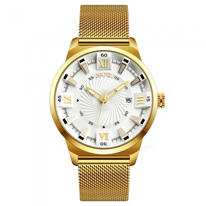 Buy SKMEI 9166 Men's 30 Meters Waterproof 304 Steel Band Quartz Watch - White with Litecoins with Free Shipping on Gipsybee.com