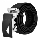 Dual Layer Leather Belt with Automatic Buckle for Men - Black