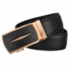 Axis Style Dual Layer Leather Belt with Automatic Buckle for Men - Black + Golden