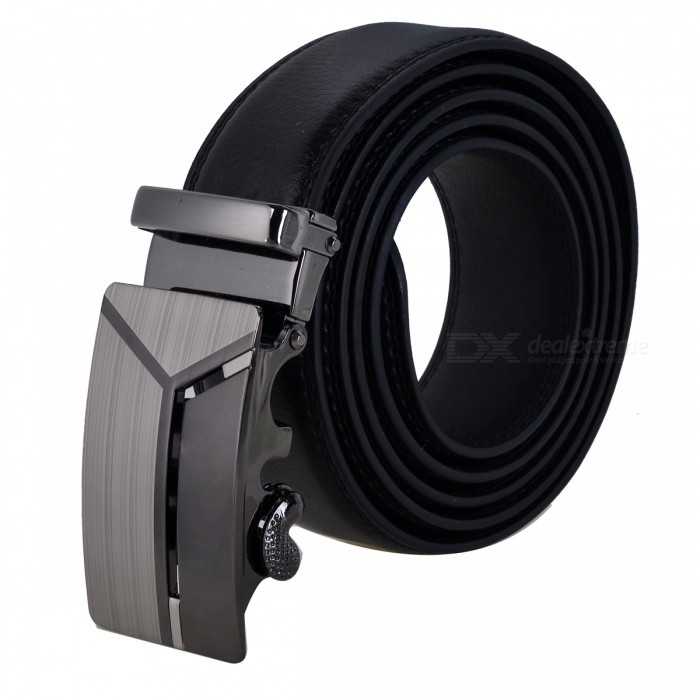 Y Word Style Leather Belt with Zinc Alloy Automatic Buckle for Men - Black