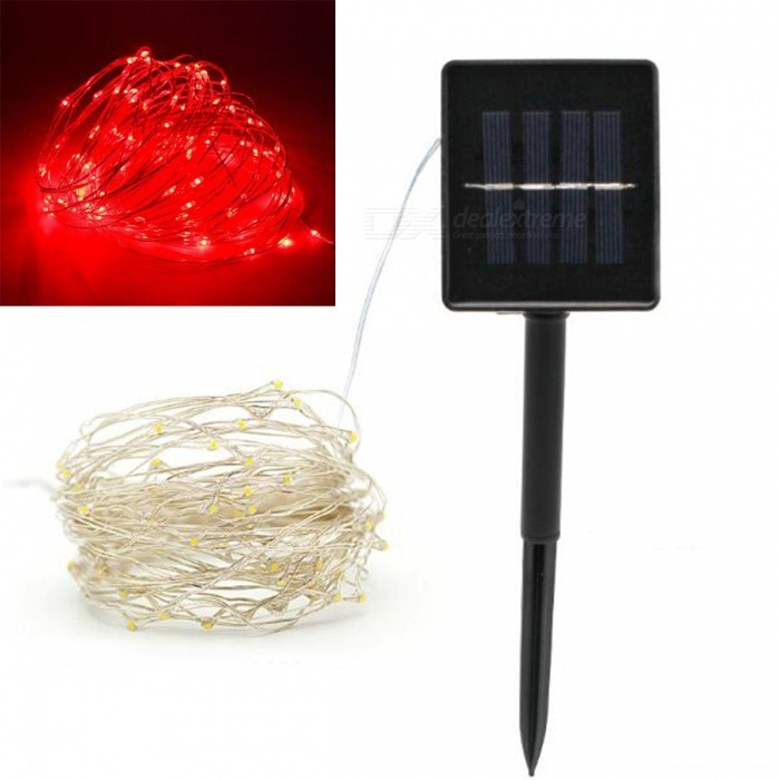 Buy JRLED 10m IP65 Waterproof Red Solar Powered Copper Wire String Light with Litecoins with Free Shipping on Gipsybee.com