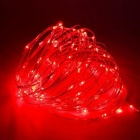 JRLED 10m IP65 Waterproof Red Solar Powered Copper Wire String Light