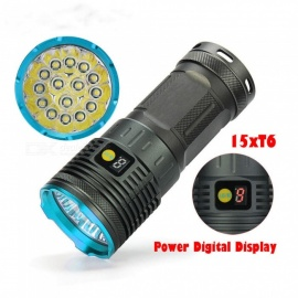Aluminium Alloy 15-XML T6 400lm Outdoor Flashlight - Black (4 x 18650)
