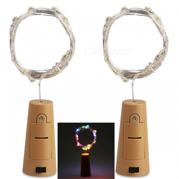 Buy JRLED Decorative Bottle Stopper Style Waterproof 2M Colorful Light 20-LED String Light - 2PCS with Litecoins with Free Shipping on Gipsybee.com