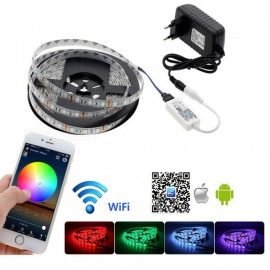 5m Waterproof 5050SMD RGB Light Strip with Mini Wireless Wi-Fi RGB Controller + 12V Power Adapter
