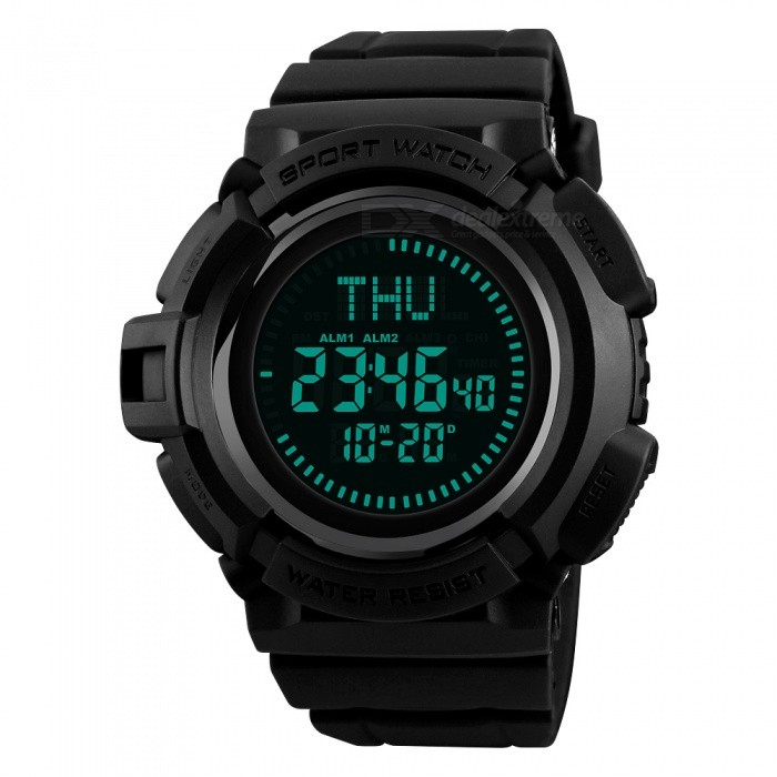 SKMEI 1300 Mens 50m Waterproof Digital Sports Compass Watch with EL Light - BlackSport Watches<br>Form  ColorBlackModel1300Quantity1 DX.PCM.Model.AttributeModel.UnitShade Of ColorBlackCasing MaterialABSWristband MaterialPUSuitable forAdultsGenderMenStyleWrist WatchTypeSports watchesDisplayDigitalBacklightGreen LightMovementDigitalDisplay Format12/24 hour time formatWater ResistantWater Resistant 5 ATM or 50 m. Suitable for swimming, white water rafting, non-snorkeling water related work, and fishing.Dial Diameter5.3 DX.PCM.Model.AttributeModel.UnitDial Thickness1.7 DX.PCM.Model.AttributeModel.UnitWristband Length26 DX.PCM.Model.AttributeModel.UnitBand Width2.2 DX.PCM.Model.AttributeModel.UnitBattery1 x CR2032Packing List1 x Watch<br>