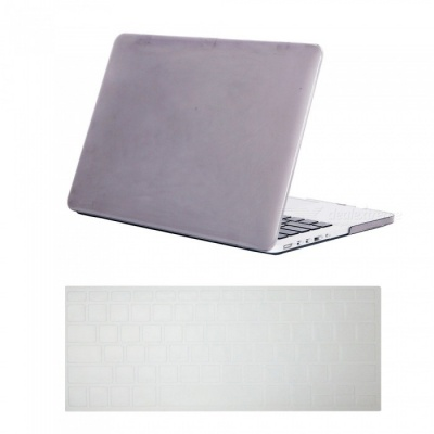 """Dayspirit Ultra Slim Crystal Hard Case + Keyboard Cover for MacBook Pro 13.3"""" with Retina Display A1425/A1502 - Gray"""