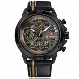NAVIFORCE-9110-Mens-Sports-Army-Leather-Wrist-Quartz-Watch