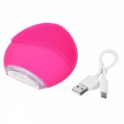 Mini Portable Waterproof Electric Silicone Facial Cleanser, Sonic Face Cleaning Washing Machine Massage Brush - Deep Pink