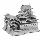 DIY Jigsaw Puzzle, 3D Stainless Steel Metal Famous Japanese Building Himeji Castle Assembly Model Educational Toy - Silver