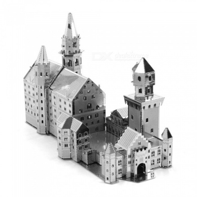 DIY Jigsaw Puzzle, 3D Stainless Steel Metal Famous Building Neuschwanstein Assembly Model Puzzle Toy - Silver