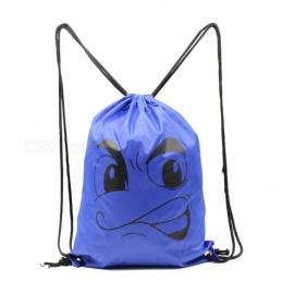 Sunfield Polyester Silk Printing Angry Face Pattern Waterproof Simple Rope Bag Backpack for Outdoors - Blue