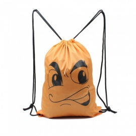 Sunfield Polyester Silk Printing Angry Face Pattern Waterproof Simple Rope Bag Backpack for Outdoors - Orange