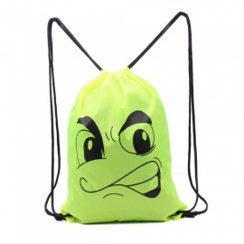 Sunfield Polyester Silk Printing Angry Face Pattern Waterproof Simple Rope Bag Backpack for Outdoors - Green