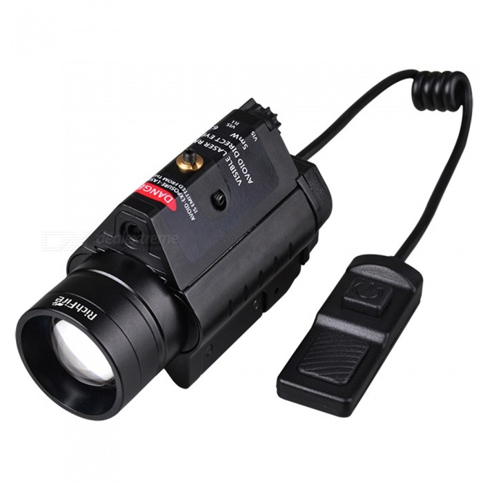 RichFire SF-P38 Red 5mW Zoom Waterproof Aluminum Alloy Laser Range Finder Rifle Gun Scope (2 x CR123A)CR123A/16340 Flashlights<br>Form  ColorBlackBrandRichFireModelSF-P38Quantity1 DX.PCM.Model.AttributeModel.UnitMaterialAluminum alloyOther FeaturesWaterproof,Zoom-to-throw,TacticalEmitter BrandCreeLED TypeXP-G2Emitter BINothers,S4Color BINCold WhiteNumber of Emitters1Working Voltage   6 DX.PCM.Model.AttributeModel.UnitPower Supply2xCR123 batteriesCurrent300 DX.PCM.Model.AttributeModel.UnitOutput(lumens)201-500Theoretical Lumens300 DX.PCM.Model.AttributeModel.UnitActual Lumens300 DX.PCM.Model.AttributeModel.UnitRuntime(hours)3.1-4Runtime3.5 DX.PCM.Model.AttributeModel.UnitNumber of Modes3Mode ArrangementOthers,When button point to ILL, press twisty switch,CREE S4 on; When button point to VIS ,ILL,press twisty switch ,CREE S4 and Red laser on; When button point to VIS,press twisty switch, only red laser on;Mode MemoryNoSwitch TypeRemote Pressure SwitchSwitch LocationTail TwistyLensGlassReflectorAluminum SmoothBeam Range500 DX.PCM.Model.AttributeModel.UnitStrap/ClipNoCertificationCE,RoHSPacking List1 x Laser Flashlight2 x CR123 Batteries2 x Hexagon wrenches (big&amp;small of each one)1 x Rat tail switch1 x English user manual<br>