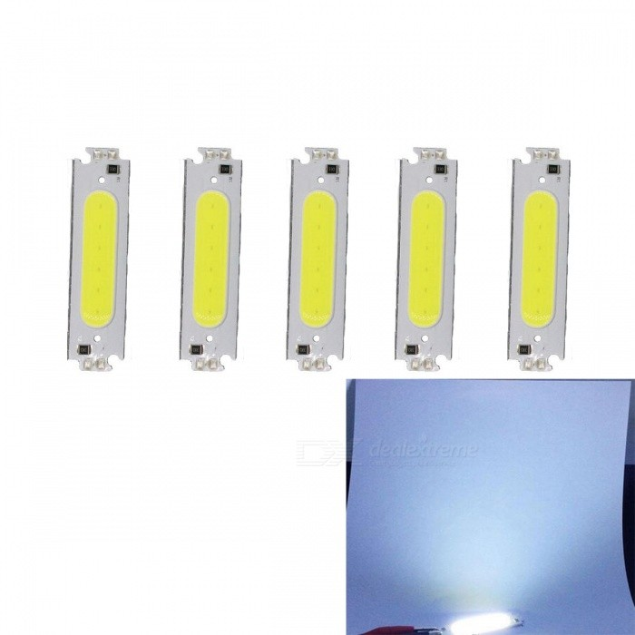 JRLED 60x15mm 2W COB Cold White LED Module (DC 12V / 5PCS)Form  ColorWhite + MulticolorColor BINCold WhiteModelN/AMaterialAluminum alloy + silica gelQuantity5 DX.PCM.Model.AttributeModel.UnitPower2 DX.PCM.Model.AttributeModel.UnitRate VoltageDC12VWorking Current160 DX.PCM.Model.AttributeModel.UnitDimmableYesEmitter TypeCOBTotal Emitters6Beam Angle140 DX.PCM.Model.AttributeModel.UnitColor Temperature6500KTheoretical Lumens200 DX.PCM.Model.AttributeModel.UnitActual Lumens200 DX.PCM.Model.AttributeModel.UnitWavelengthN/AConnector TypeOthers,Welding lineCertificationCE ROHSOther FeaturesThis product DC12V voltage use, small size, high brightness, is a good choice for automotive reading lights, DIY modified lighting.Packing List5 x 12V 2W COB<br>