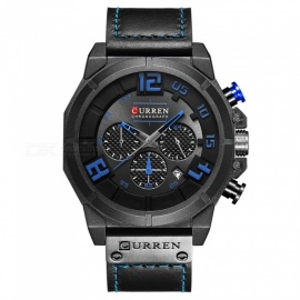 CURREN-8287-Mens-PU-Leather-Band-Water-Resistant-Quartz-Wrist-Watch-Black-2b-Red