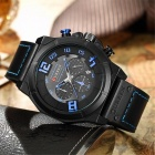 CURREN 8287 Men's PU Leather Band Water Resistant Quartz Wrist Watch - Black + Red