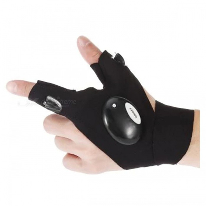 Half Finger Gloves LED Flashlight for Outdoor Sports - Black (Left Hand)
