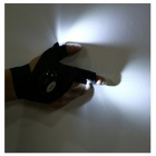 Half Finger Gloves LED Flashlight for Outdoor Sports - Black (Right Hand)