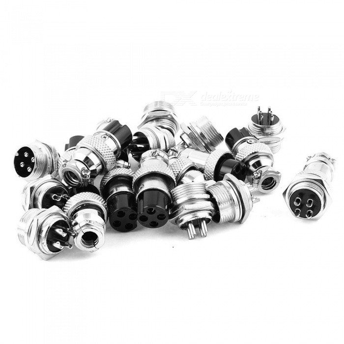 16mm Thread 4 Pins Male Female Panel Metal Aviation Wire Connector (10 Pairs)DIY Parts &amp; Components<br>Form  ColorSilver BlackModelGX16-4Quantity10 DX.PCM.Model.AttributeModel.UnitMaterialMetalEnglish Manual / SpecNoDownload Link   NOCertificationCEPacking List10 Pairs x Aviation Connector Plugs<br>