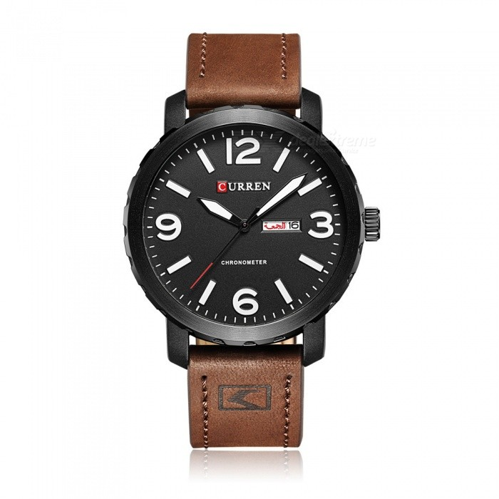CURREN 8273 Stylish PU Leather Water Resistant Quartz Wrist Watch with Date Display - Dark Brown
