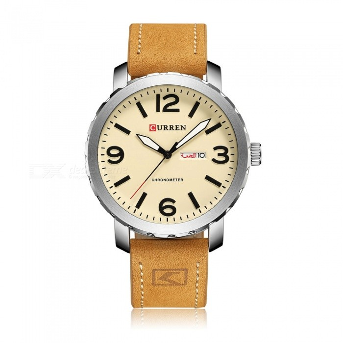 CURREN 8273 Stylish PU Leather Water Resistant Quartz Wrist Watch with Date Display - Silver + Yellow