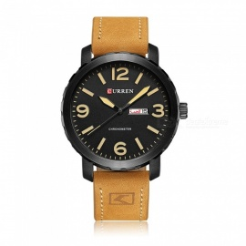 CURREN 8273 Stylish PU Leather Water Resistant Quartz Wrist Watch with Date Display - Black + Yellow